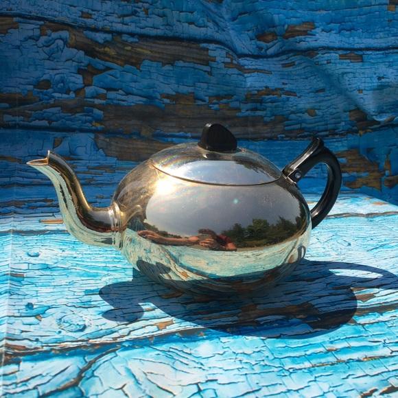 Art Deco Diamond Lustre-Ware Metal Bakelite Teapot